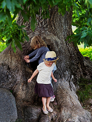 Girls playing on tree trunk - p528m716690 by Anna Kern