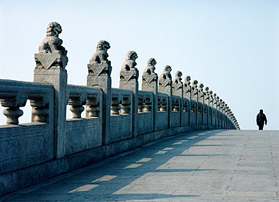 Dogs on the pillars of the 17 Arch Bridge in the grounds of the Summer Palace - p6440668 by Ian Cumming