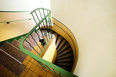 High angle view of modern staircase - p312m696509f by Hasse Bengtsson