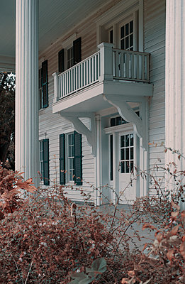 Colonial House Front Porch and Balcony - p1617m2264073 by Barb McKinney