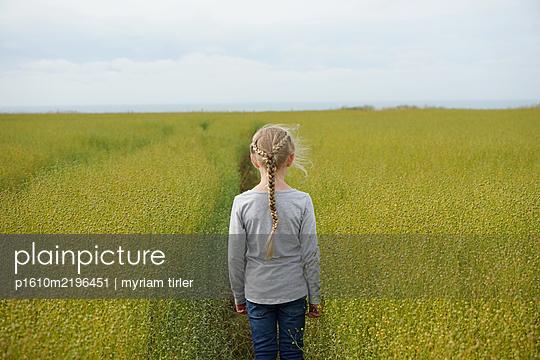 Mädchen in einem Flachsfeld - p1610m2196451 von myriam tirler