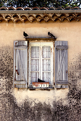 Old window with shutters - p879m1115384 by nico