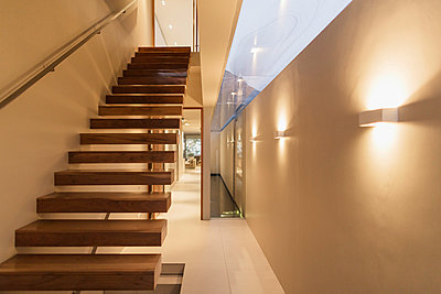 Staircase and corridor in modern house - p1023m857730f by Astronaut Images