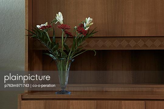 Blumenvase auf einer Schrankwand - p763m971743 von co-o-peration