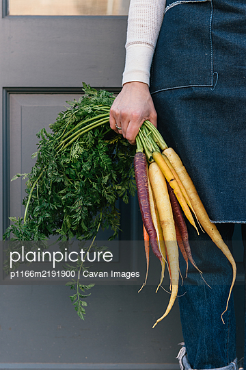 Woman holding fresh bundle of carrots at a grocery - p1166m2191900 by Cavan Images