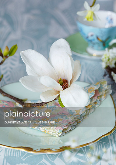 Easter Table setting with Magnolia - p349m2167871 by Sussie Bell