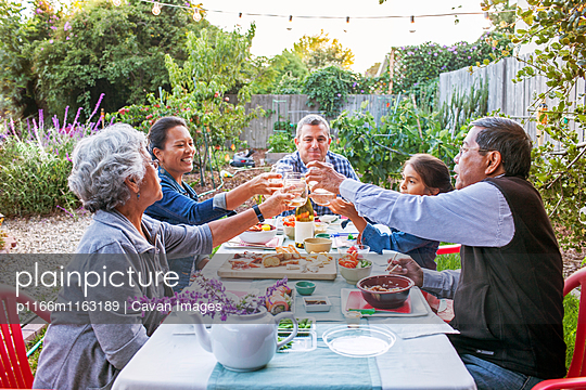 Family toasting wineglasses on picnic table at backyard - p1166m1163189 by Cavan Images
