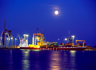 Helsinki harbour and moon  - p3221283 by Kimmo von Lüders
