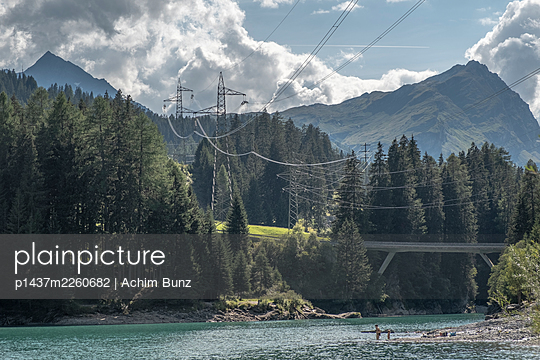 Lake close to San Bernardino road tunnel, Switzerland - p1437m2260682 by Achim Bunz
