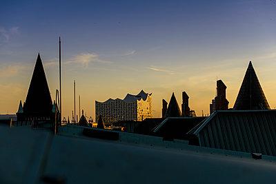 Blick auf Elbphilharmonie über den Dächern der Hamburger Speicherstadt IV - p1493m1584463 von Alexander Mertsch