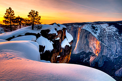 Winter Sunset on Horse Tail Falls from Taft Point, Yosemite National Park, California - p1424m1501849 by Josh Miller