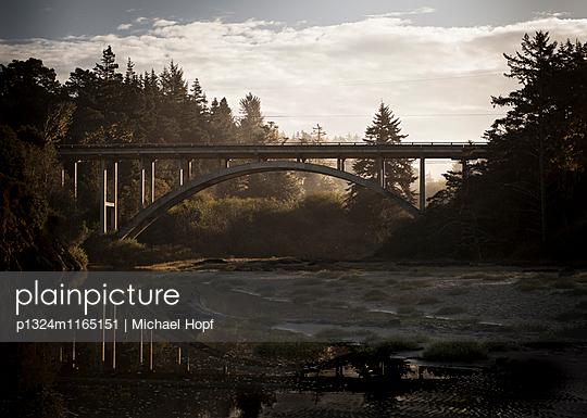 Brücke spiegelt sich im Fluss in der Morgendämmerung - p1324m1165151 von michaelhopf