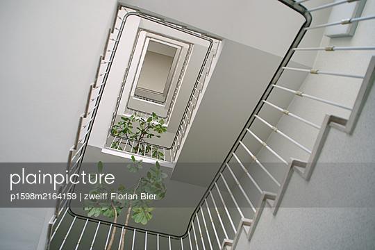 Stairwell with indoor plants - p1598m2164159 by zweiff Florian Bier