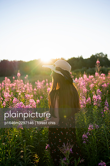 Woman on a meadow picking flowers - p1646m2297146 by Slava Chistyakov
