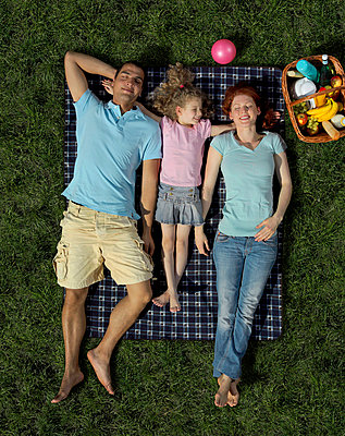 A family lying on a blanket on grass - p3018276f by Antenna photography