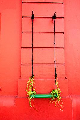 Rankhilfe an einer roten Wand - p1385m1424870 von Beatrice Jansen