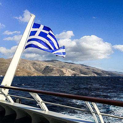 Greek Flag on sea - p940m1201376 by Bénédite Topuz
