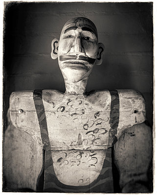 Carved wooden figure - p1154m1462065 by Tom Hogan