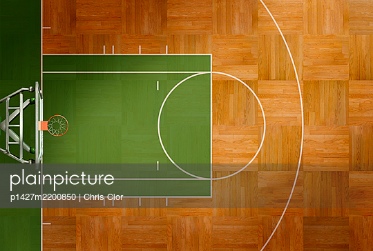 Aerial view of basketball court - p1427m2200850 by Chris Clor