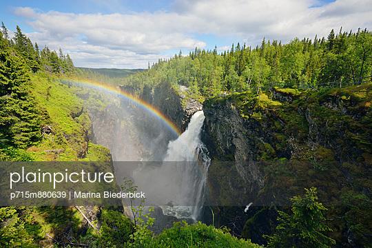 Waterfall with rainbow - p715m880639 by Marina Biederbick