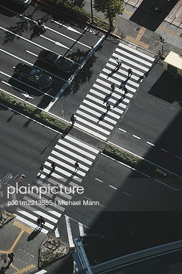 Aerial view pedestrians crossing city street at crosswalk, Tokyo, Japan - p301m2213595 by Michael Mann