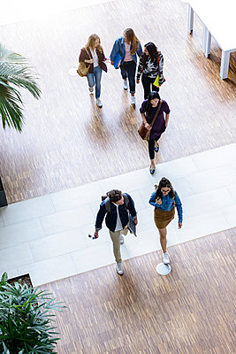 Male and female university students walking and talking in university lobby, high angle view - p429m2019121 by suedhang photography