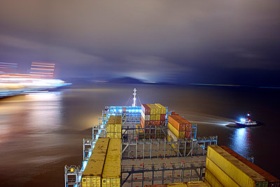 Half-empty container ship - p1099m857113 by Sabine Vielmo
