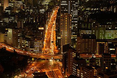 Akabane intersection at night, Minato ward, Honshu, Japan - p5148014f by Photolife