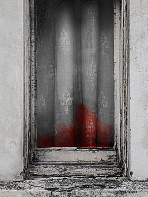 Dirty old window curtains covered in blood - p1280m2281180 by Dave Wall