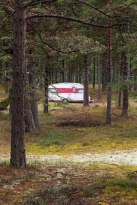 Caravan parked in forest - p312m1054532f by Kari Kohvakka