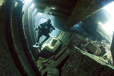 Diving the wreck of The Giannis D, Red Sea, Egypt, North Africa, Africa - p871m986943 by Dan Burton
