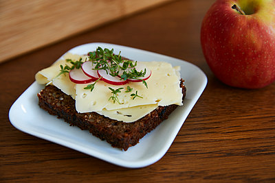 Open sandwich with cheese, radish and cress - p312m2145823 by Magnus Ragnvid