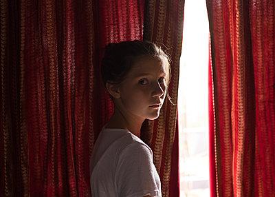 Girl at Window - p1503m2020412 by Deb Schwedhelm