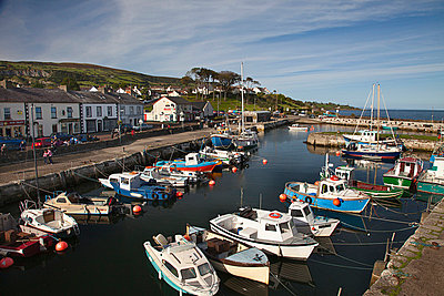 boats in carnlough harbor; county antrim ireland - p44213400 by Robert Bartow