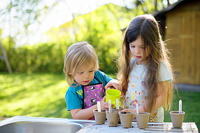 Cute girl watering plants while gardening with sister in at yard - p300m2206538 by Biederbick&Rumpf