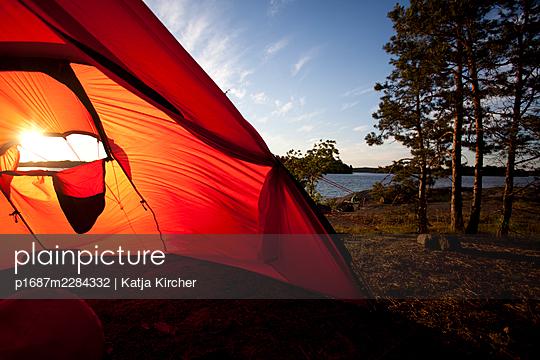 Sweden, Tent in the landscape - p1687m2284332 by Katja Kircher