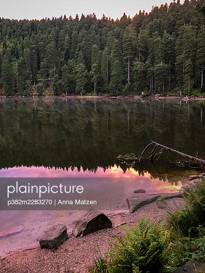 Sunset at the Mummelsee - p382m2283270 by Anna Matzen