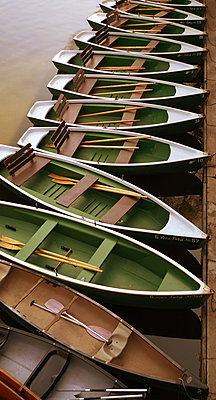 Leere Boote auf dem Neckar - p1578m2150520 von Marcus Hammerschmitt