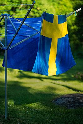 Swedish flag towel - p1418m1571971 by Jan Håkan Dahlström