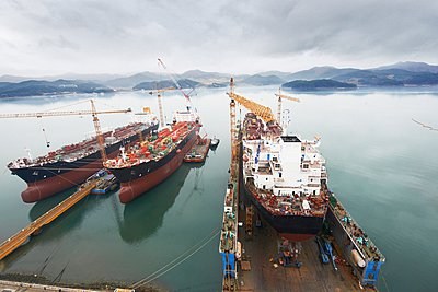 Ships at port, elevated view, GoSeong-gun, South Korea - p429m1024496f by Adie Bush