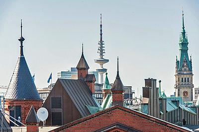Television tower and Speicherstadt - p229m2038599 by Martin Langer