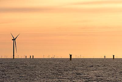 Morgenstimmung im Offshore Windpark Godewind - p1079m1092230 von Ulrich Mertens