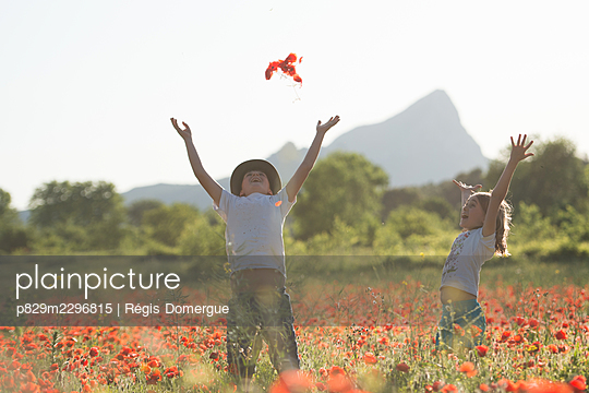 Two children in a poppy field - p829m2296815 by Régis Domergue