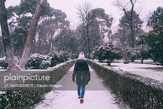 Young woman walking through Retiro park during Filomena snowstorm, Madrid, Spain - p1166m2255875 by Cavan Images