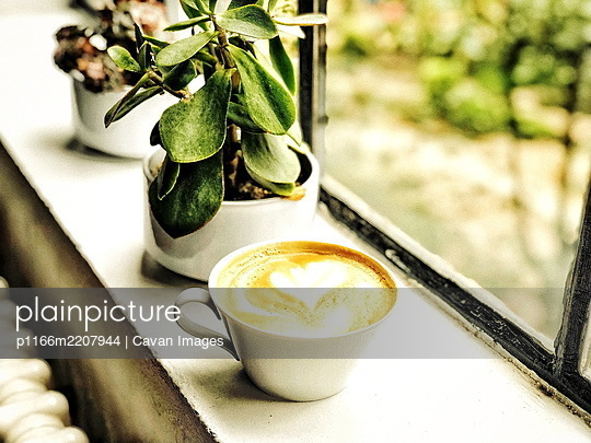prepared healthy food with coffee - p1166m2207944 by Cavan Images