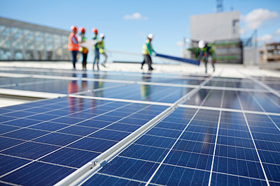Solar panels at sunny power plant - p1023m1583989 by Trevor Adeline