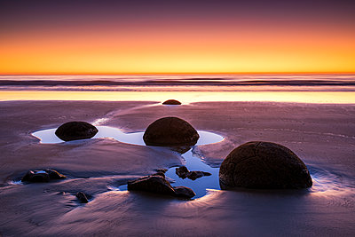 Moeraki Boulders at Sunrise, Otago Coast, New Zealand - p651m2006613 by Tom Mackie