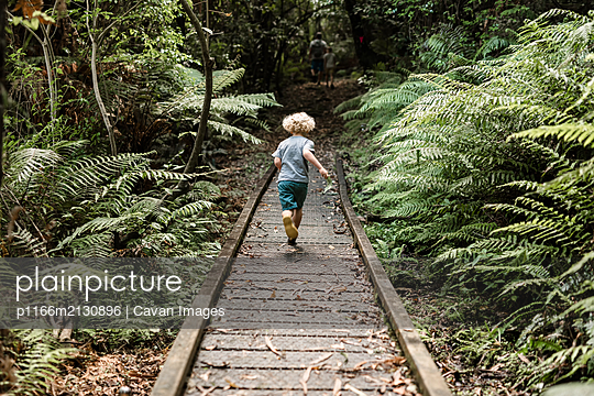 Young child running on fern lined path through a forest - p1166m2130896 by Cavan Images