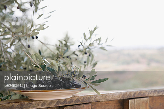 Black olives on a dish - p9248361f by Image Source