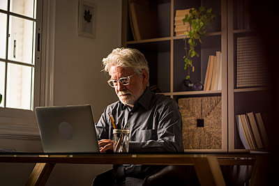 Senior male entrepreneur using laptop while working from home - p300m2276602 by Simona Pilolla